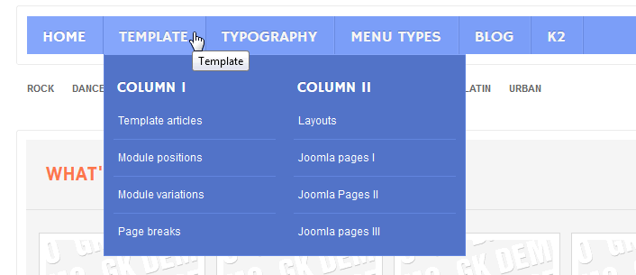 menu in columns wordpress