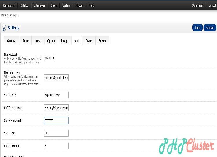 opencart mail setup - phpcluster