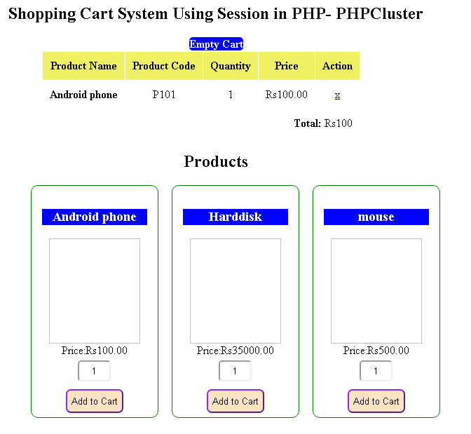 Shoppingcart system in PHP - PHPCluster