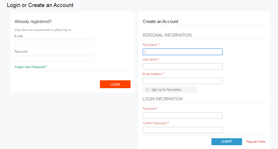 Merge Login and Registration Form in Magento