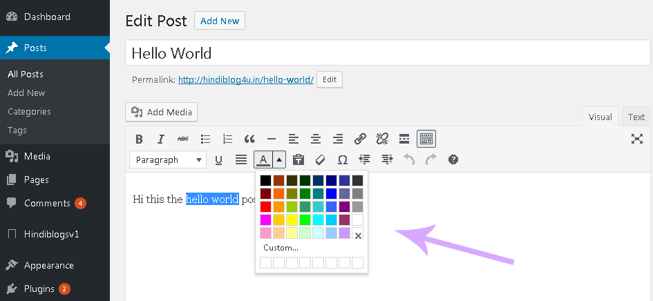 How to Change Text Colour and Size In WordPress