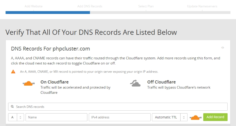verify dns records listed